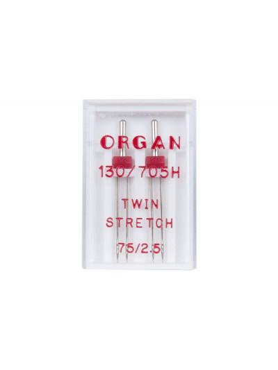 Organ иглы Двойные №75 2.50 стрейч (2 штуки)