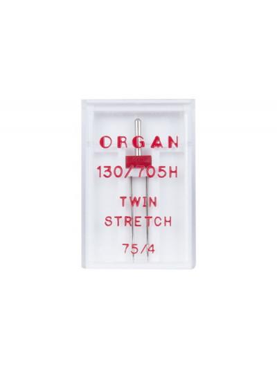 Organ иглы Двойные №75 4.00 стрейч