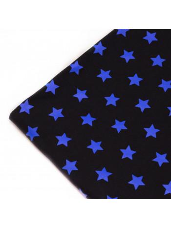 "Футер 2-х нитка ""Синие звезды на черном фоне"""
